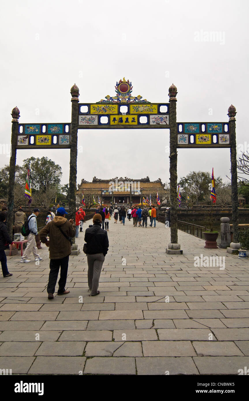 Vertical view of San Dai Trieu Nghi (Esplanade of Great Salutation) inside the Imperial or Royal Citadel in Hue, Stock Photo