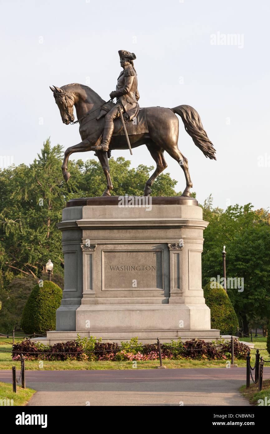 Bronze Statue of George Washington in Boston Public Garden in Boston, Massachusetts - Stock Image