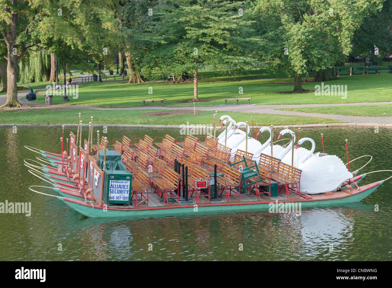 An empty Swan boat in a lake in Boston Public Garden in Boston, Massachusetts. - Stock Image