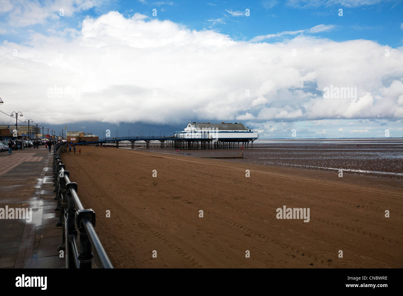 Cleethorpes, Lincolnshire, Pier a traditional victorian pier which is now a nightclub & restaurant people on - Stock Image