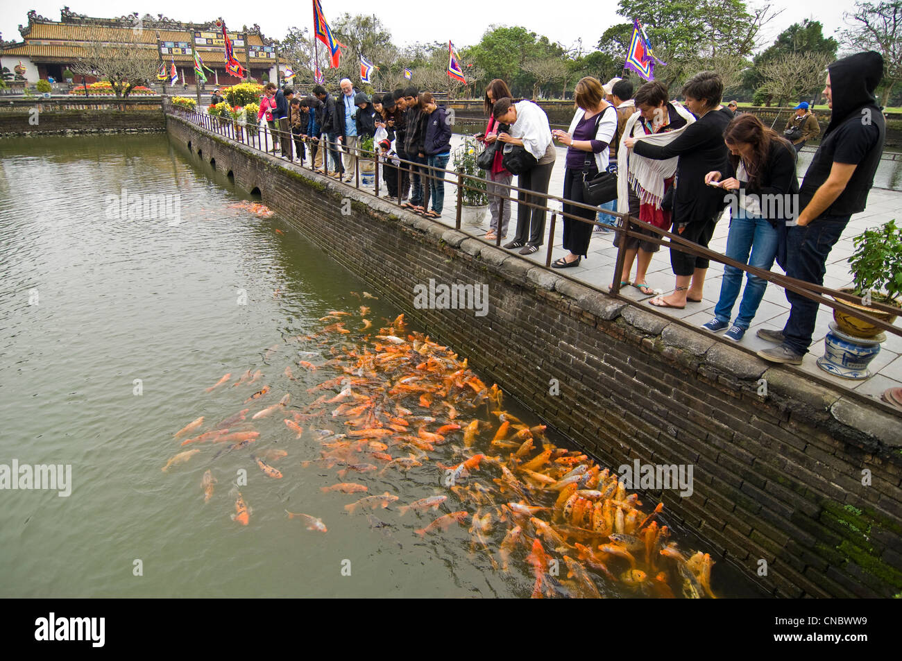 Horizontal view of tourists feeding hungry carp from Trung Dao (Central Path) Bridge inside the Royal or Imperial Stock Photo
