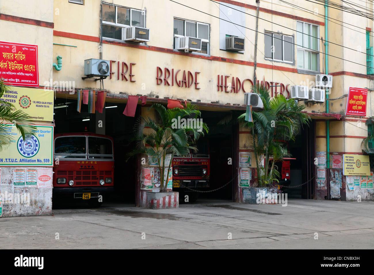 India, West Bengal, Calcutta, Fire Brigade Headquarters - Stock Image
