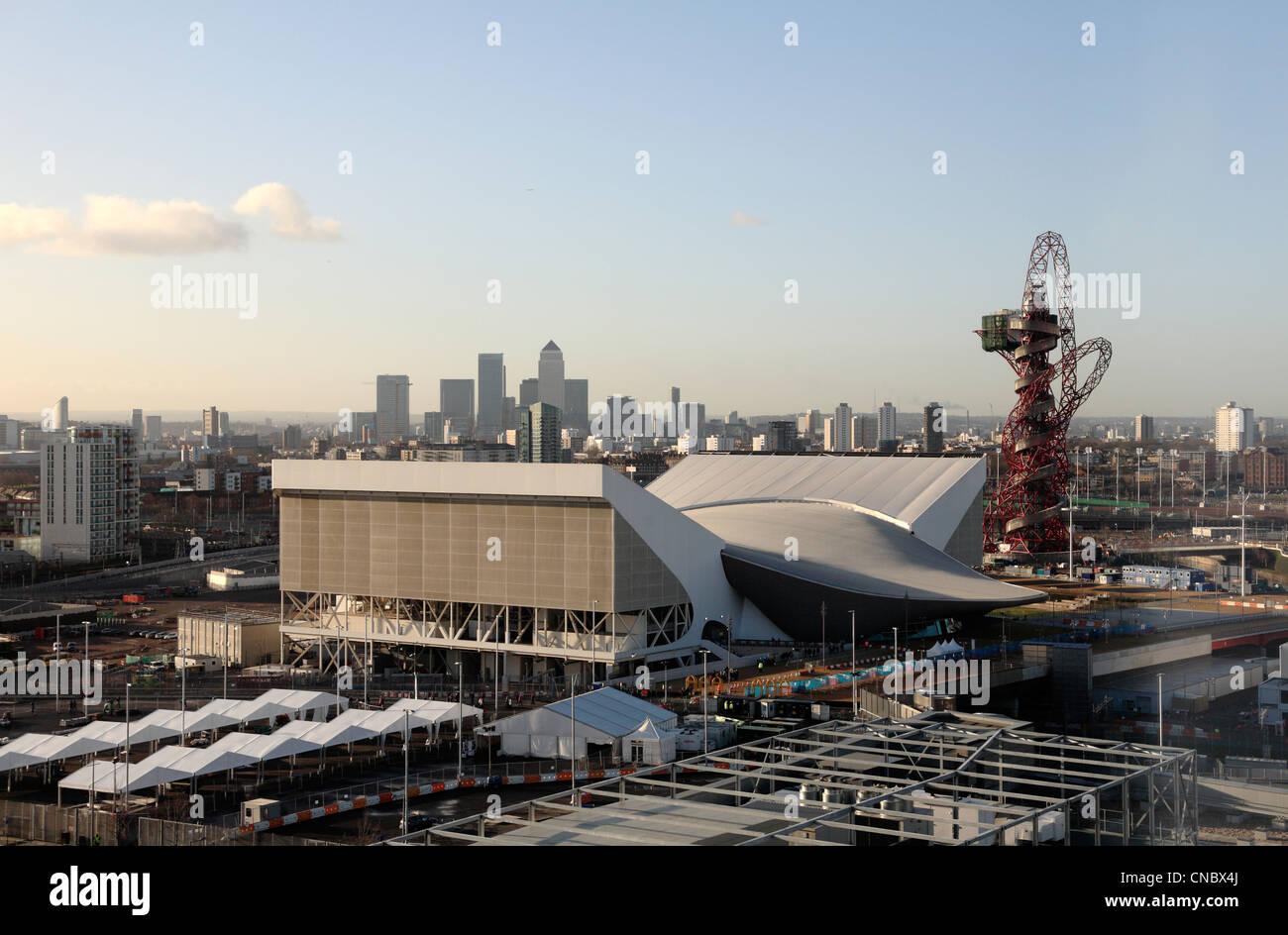 Aquatic centre center Olympic stadium games park Stratford London 2012 Olympics - Stock Image