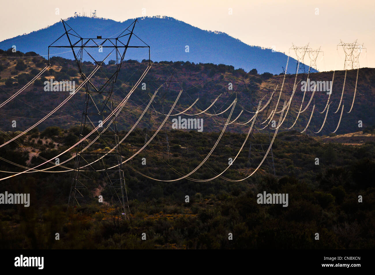 reflective power lines in Arizona Desert Landscape - Stock Image