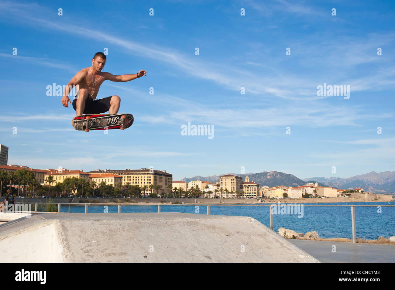 France, Corse du Sud, Ajaccio, the skatepark on the seafront - Stock Image