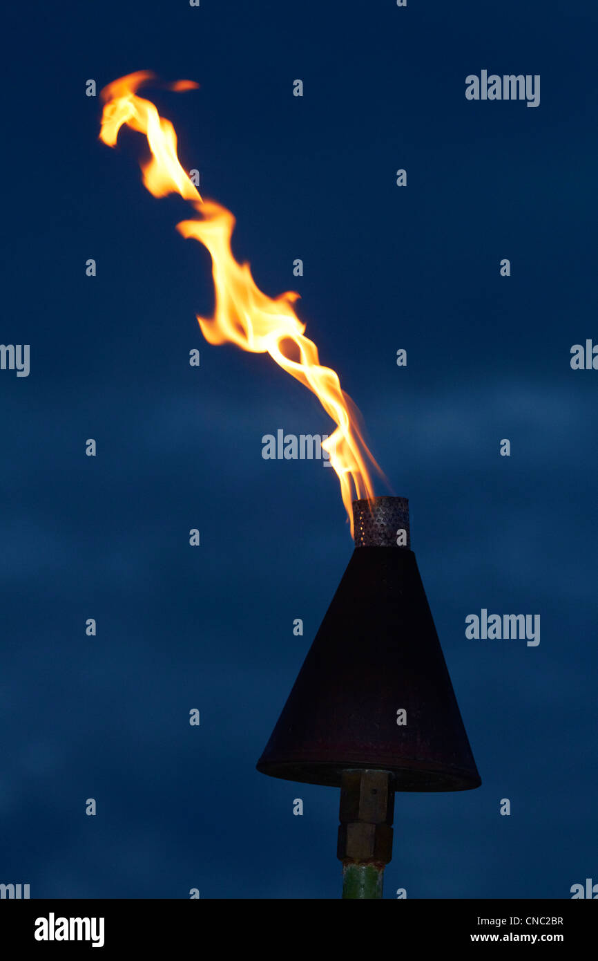 Flame on kerosene lantern, Coral Coast, Viti Levu, Fiji, South Pacific - Stock Image