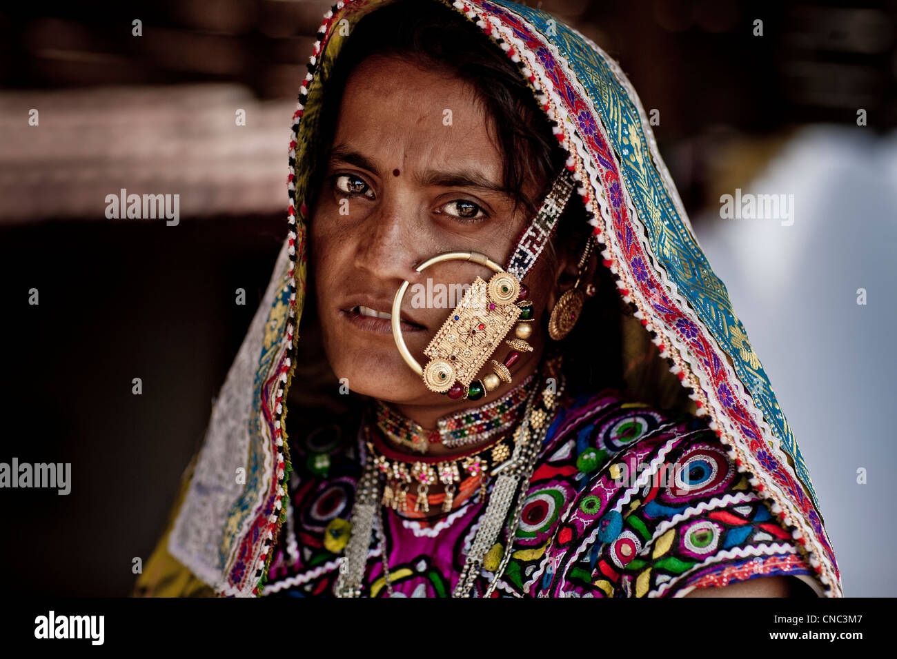 India, Gujarat state, Kutch desert, Ludiya village, portrait of a woman wearing the traditional costume and jewelry - Stock Image