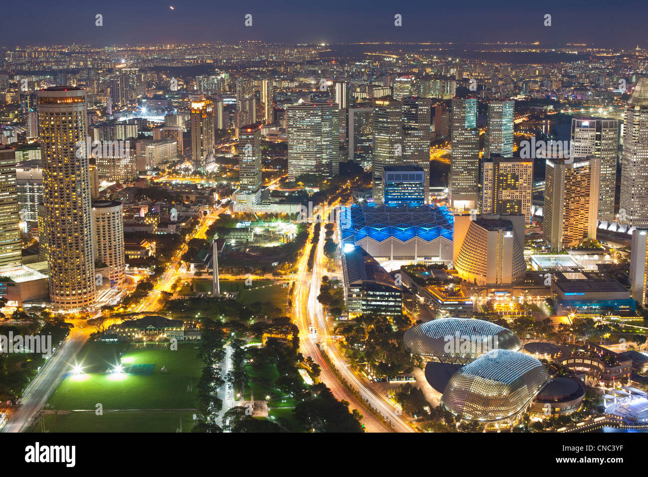 Singapore, Marina Bay, view from the 1-Altitude bar over the Esplanade-Theatres on the Bay, Singapore International - Stock Image