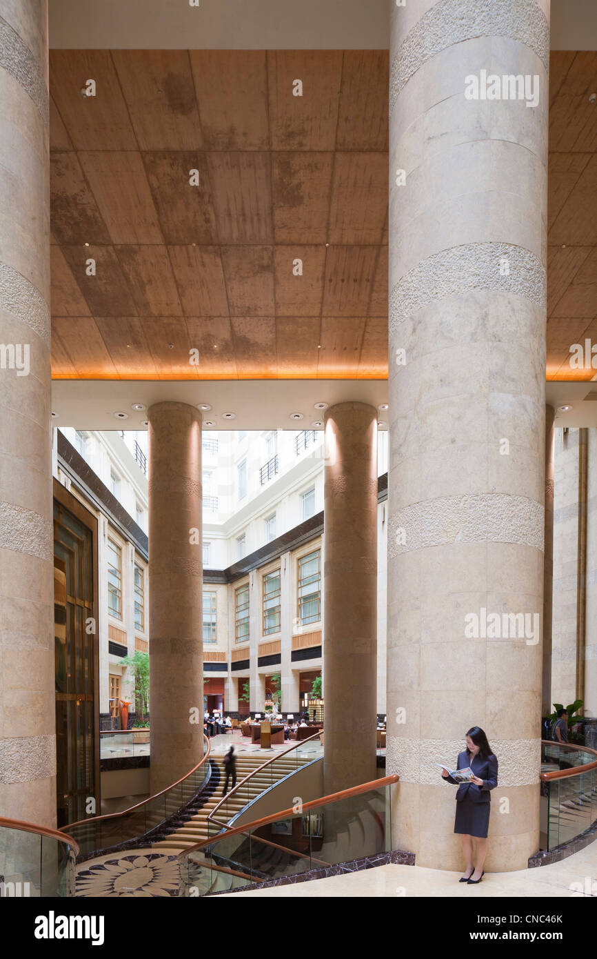 Singapore, Fullerton Hotel, located in the former Central Post Office, dating from the 1920's - Stock Image