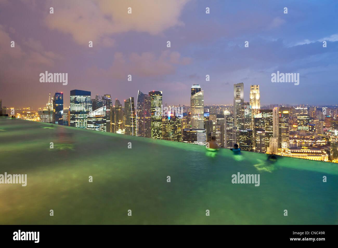 Singapore, Marina Bay, Marina Bay Sands Hotel opened in 2010, designed by architect Moshe Safdie for 4.5 billion - Stock Image