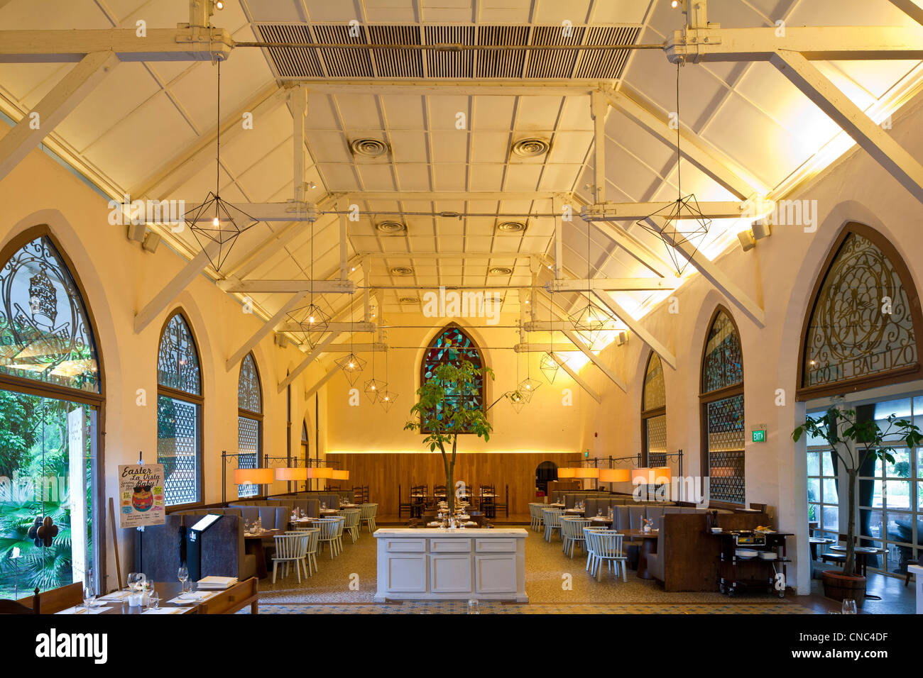 Singapore, Dempsey Hill, restaurant The White Rabbit, opened in 2008 in a former chapel, property of an English - Stock Image