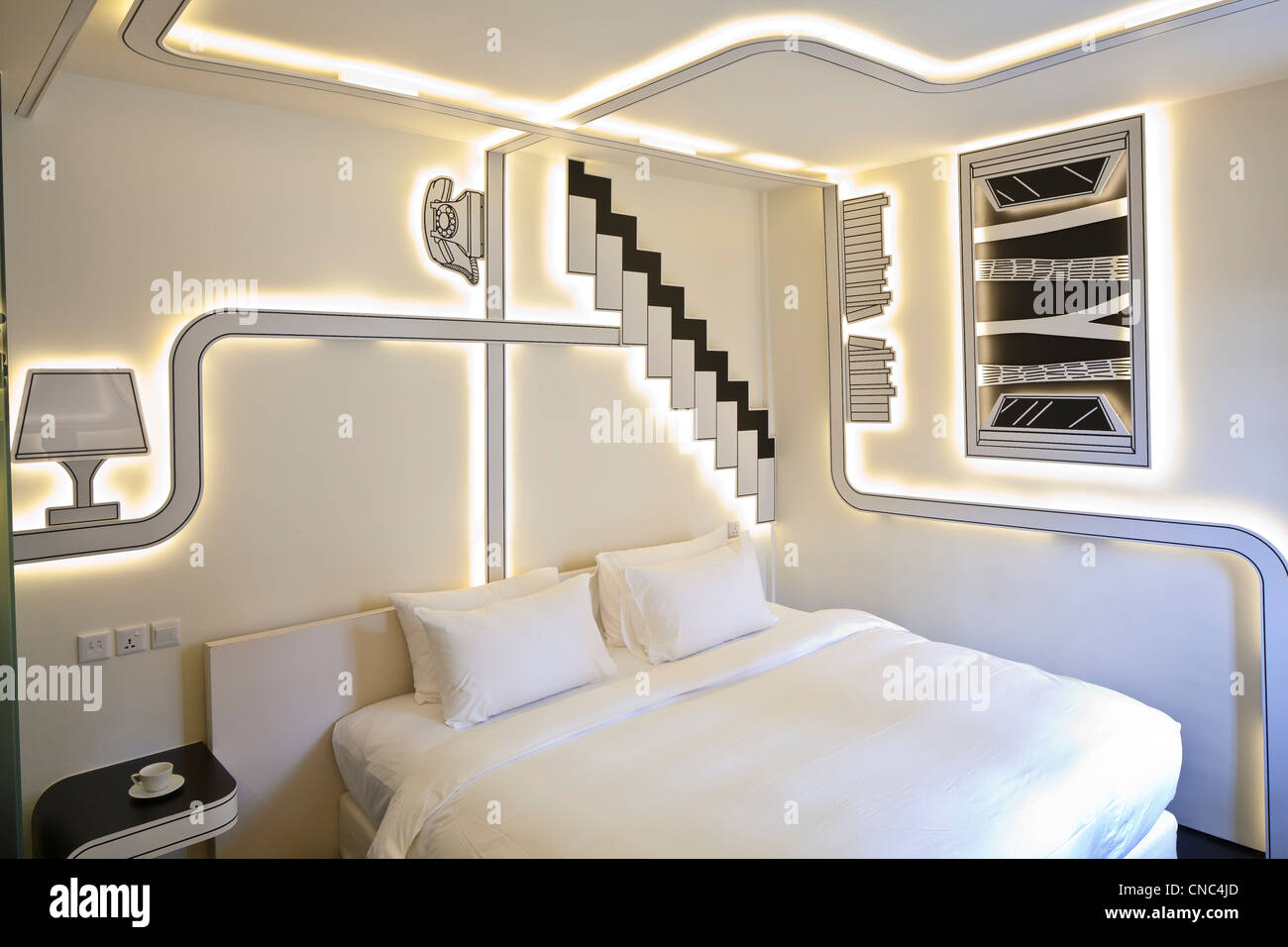 Singapore, Little India, Wanderlust Hotel, located in a building from the 1920's, room Directionless by DP Architects - Stock Image