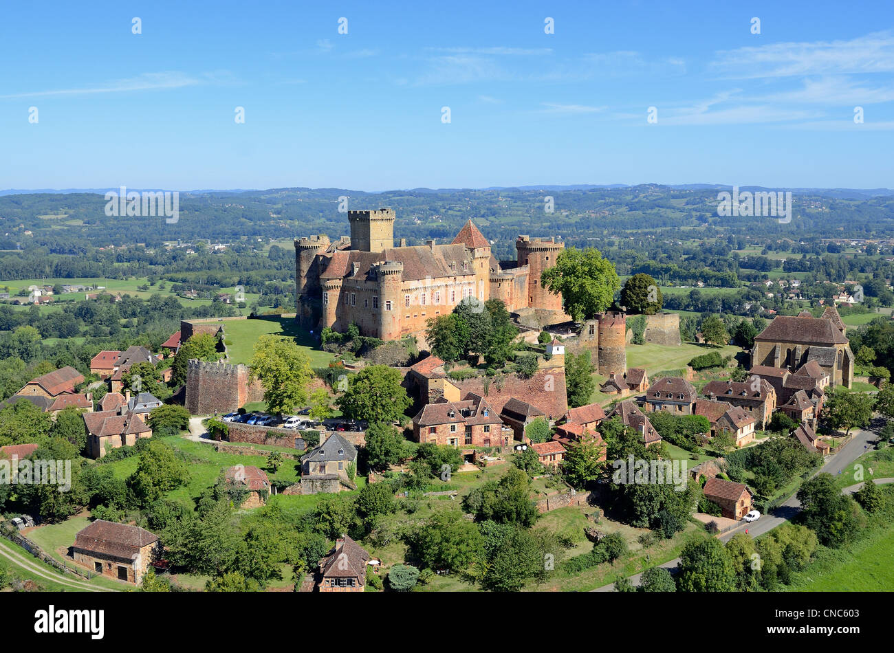 France, Lot, Haut Quercy, Dordogne valley, Castelnau Bretenoux castle (aerial view) Stock Photo