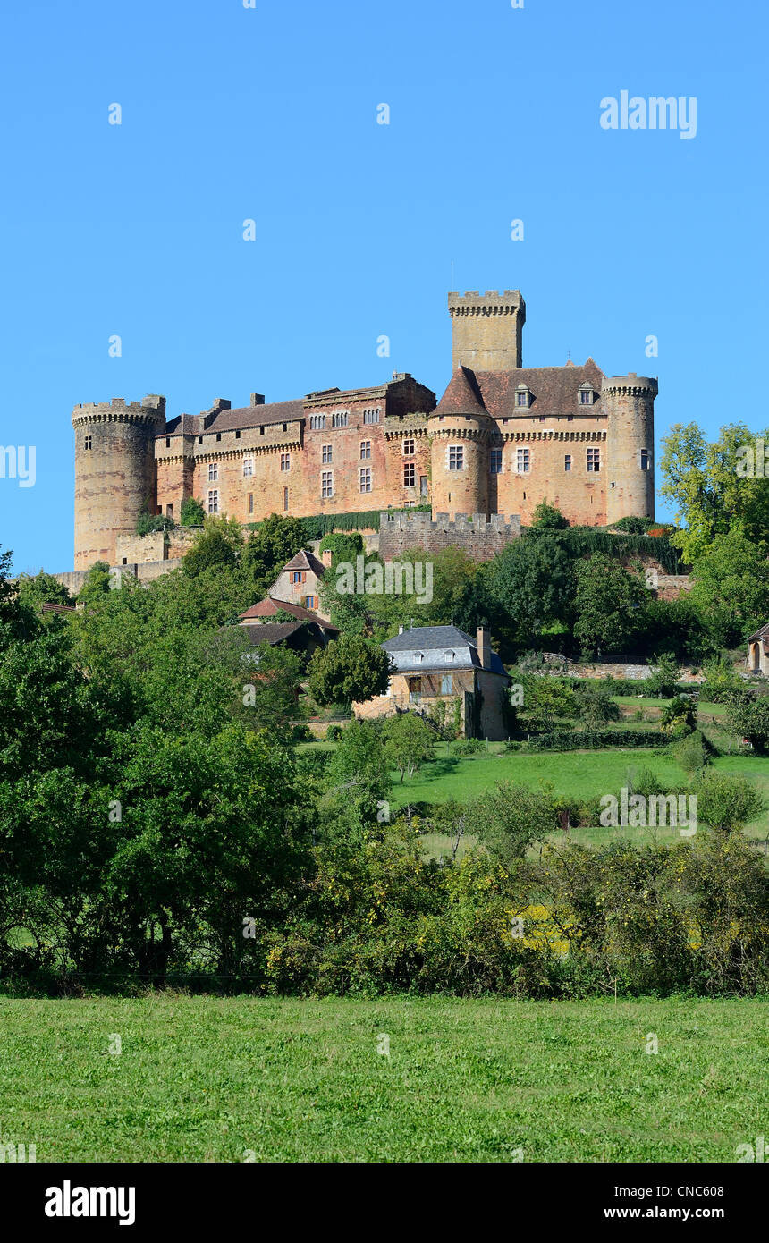 France, Lot, Haut Quercy, Dordogne valley, Castelnau Bretenoux castle Stock Photo
