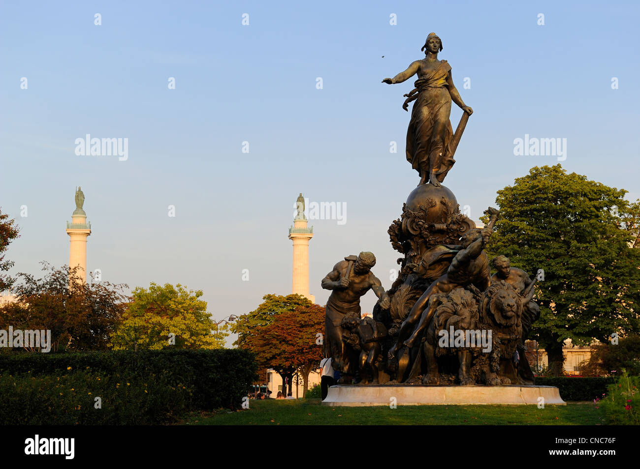 France, Paris, place de la Nation, The Triumph of the Republic is a bronze group ordered in 1879 and made by sculptor - Stock Image