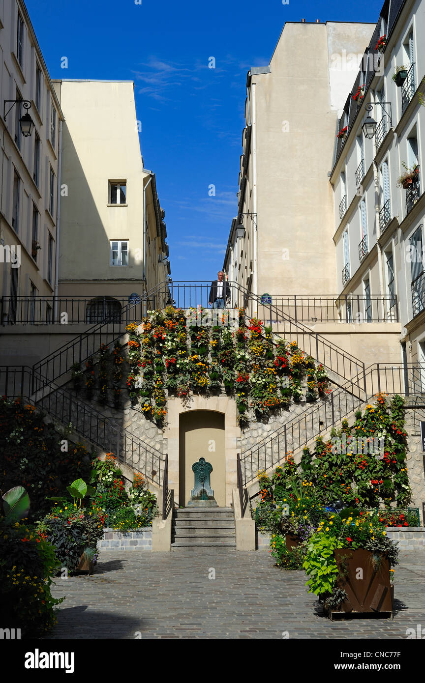 France, Paris, the Rollin street staircase - Stock Image
