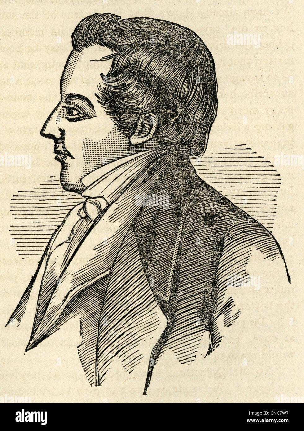 Simple 1871 woodcut engraving of Joseph Smith, Jr. - Stock Image