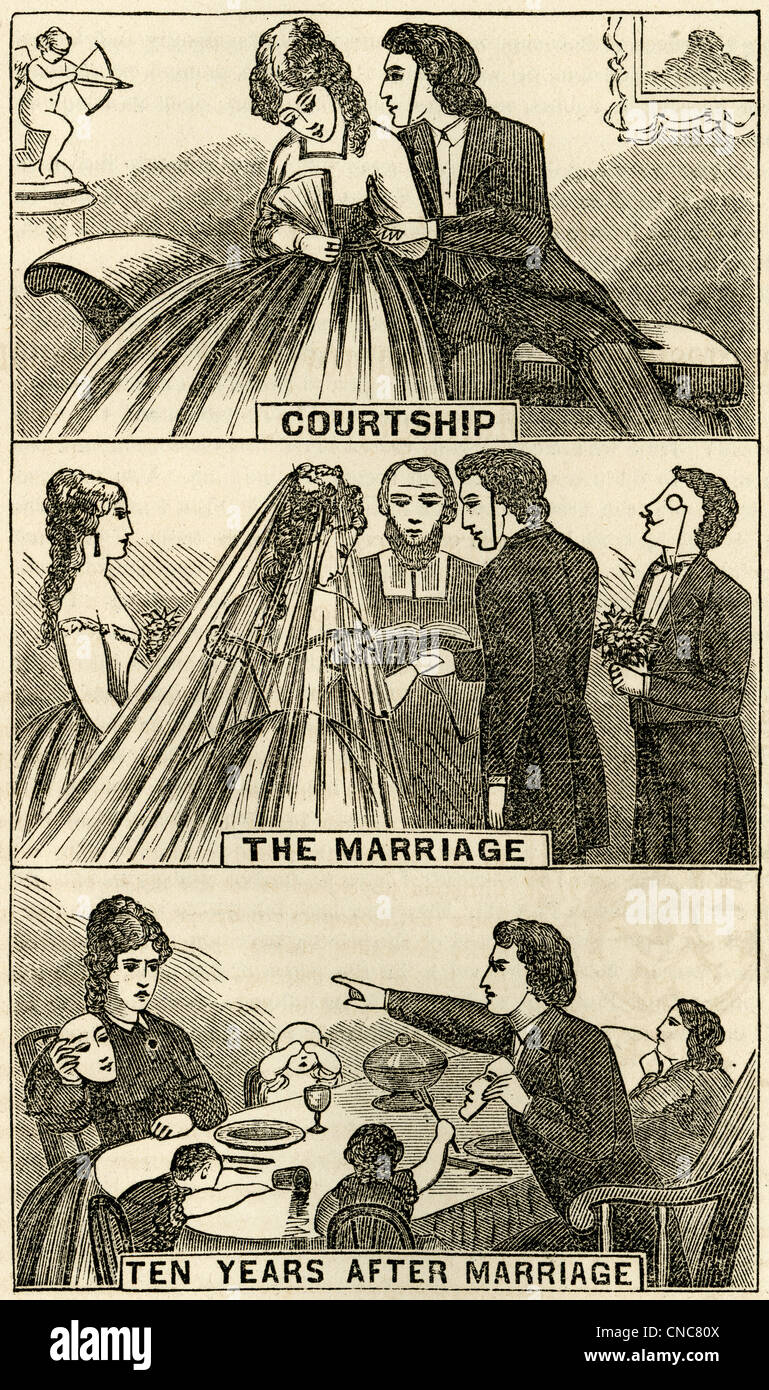 1871 engraving, The Masks Must Finally Come Off: Courtship, Marriage, Ten Years Later. - Stock Image