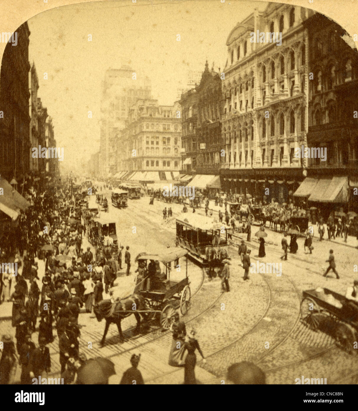 Circa 1890s stereoview image, State Street in Chicago, Illinois. - Stock Image