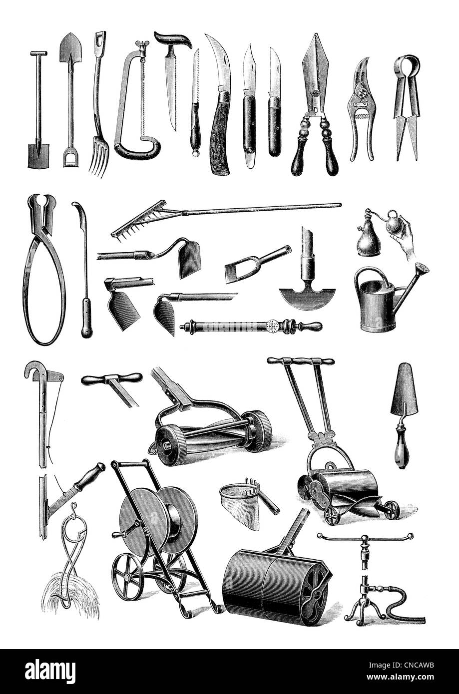 Historical illustration from the 19th Century, depiction of gardening equipment - Stock Image