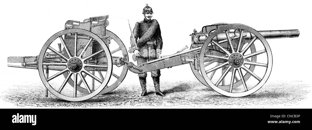 Historical illustration from the 19th Century, depiction of a German field gun - Stock Image