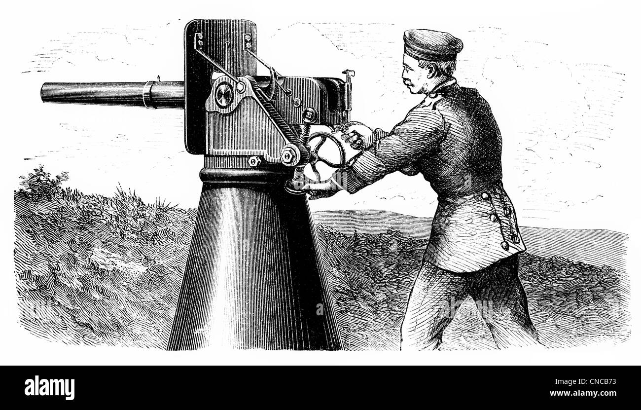 Historical illustration from the 19th Century, depiction of a German rapid-fire cannon, machine gun - Stock Image