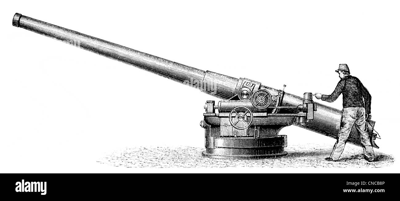 Historical illustration from the 19th century, depiction of a French rapid-fire cannon - Stock Image