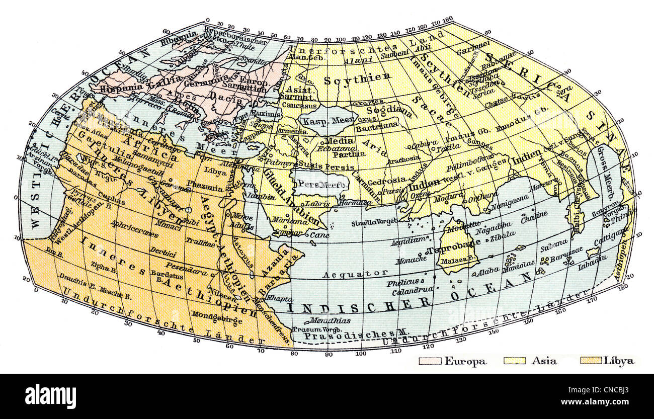 world map by Claudius Ptolemy, circa 100-180 AD, a Greek mathematician, geographer, astronomer, astrologer, philosopher - Stock Image