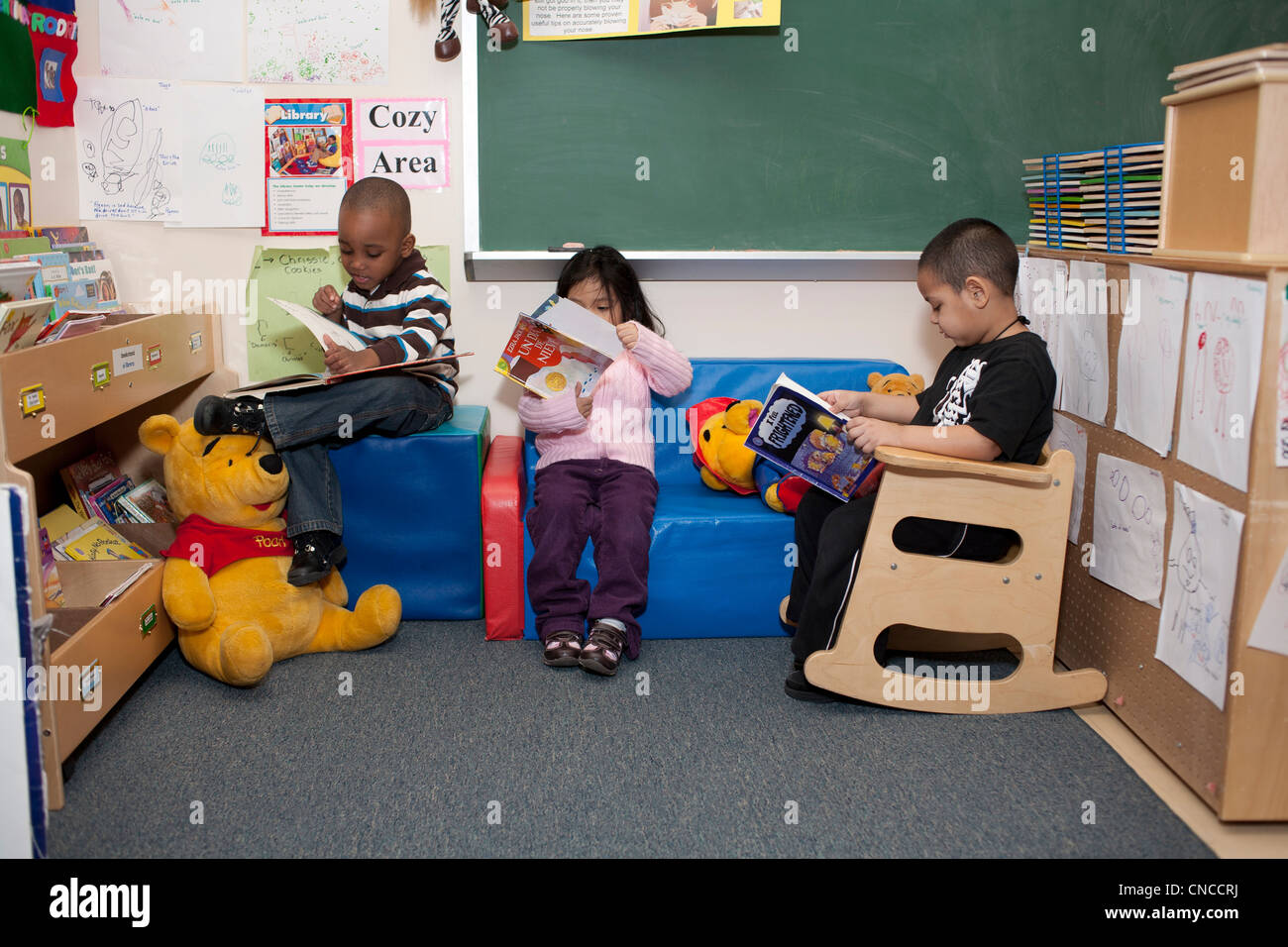 Preschool children in classroom Stock Photo
