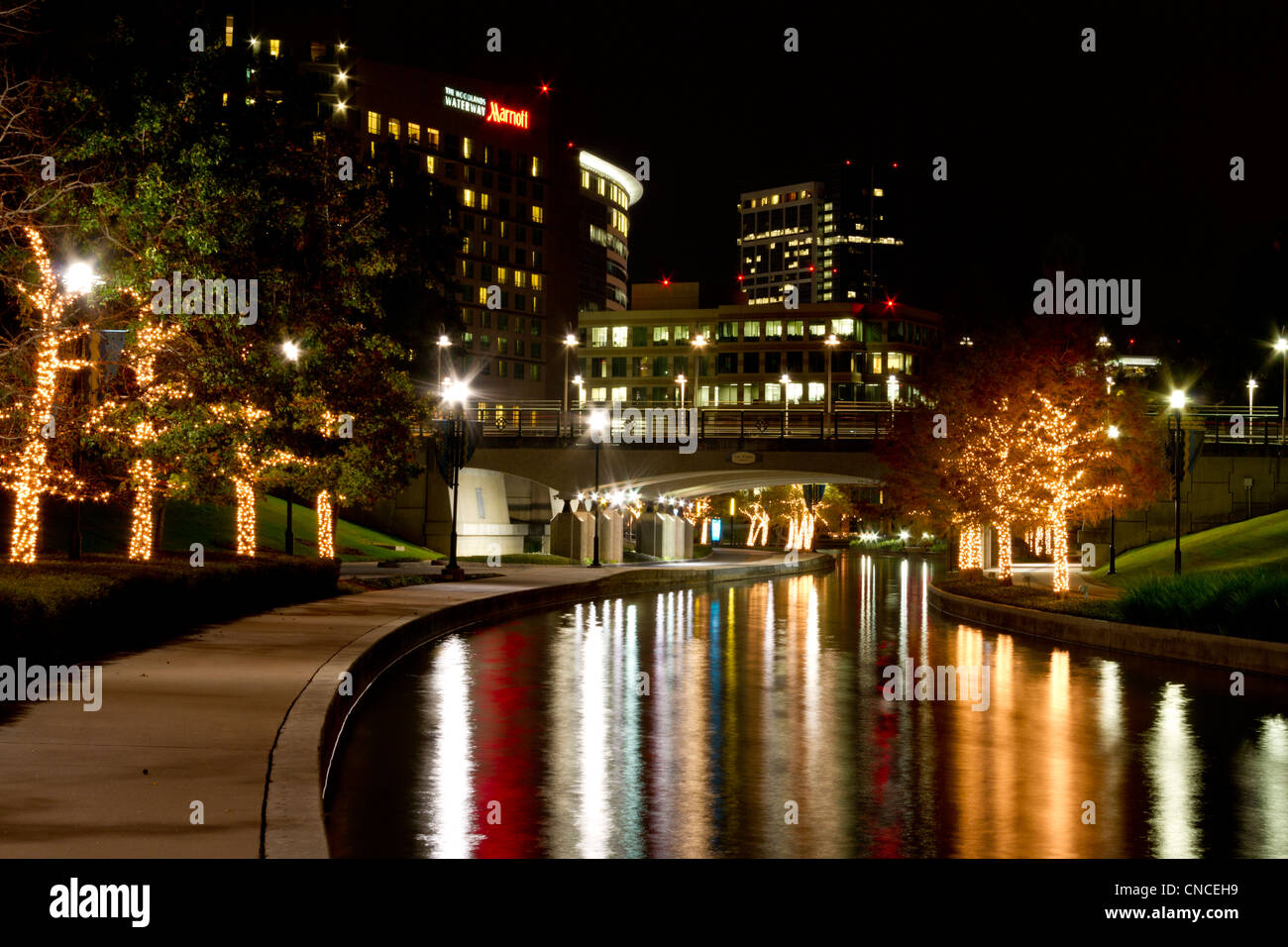 Christmas Lights at night along the Woodlands Waterway in The Stock ...