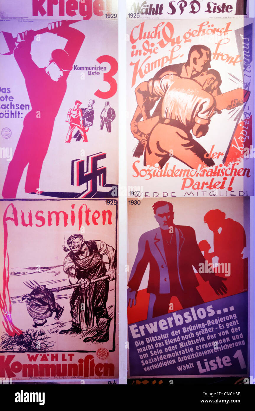 Nazi and Communist Party election posters from the 1930s Germany - Stock Image