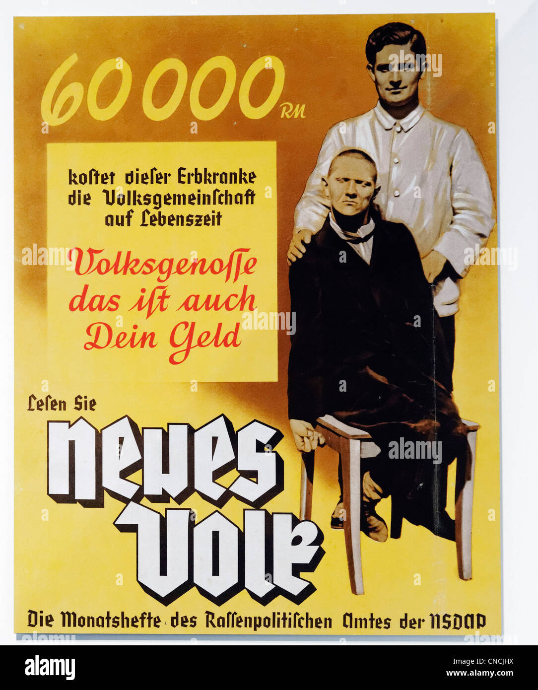 Nazi Party poster showing how disabled people cost money and promoting eugenics and euthanasia of the disabled  Stock Photo