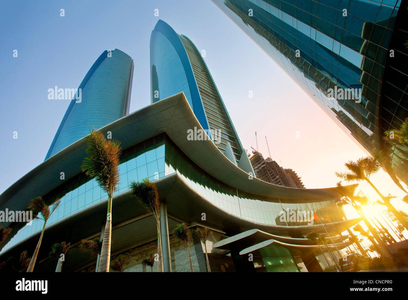 United Arab Emirates, Abu Dhabi Emirate, Abu Dhabi, Jumeirah Etihad Towers - Stock Image