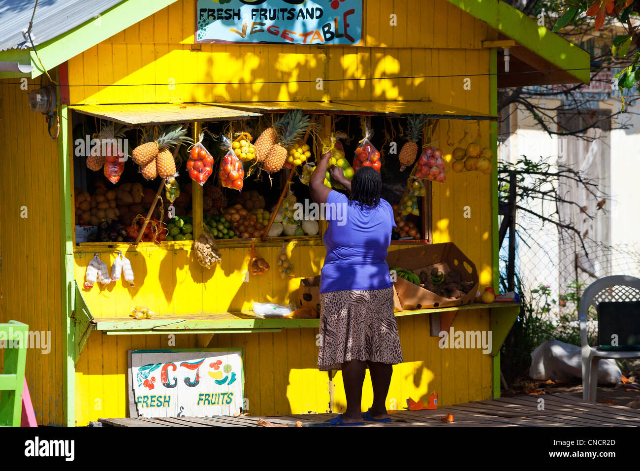 Central America, Caribbean, Lesser Antilles, St. Vincent and the Grenadines, Union Island, Market at Clifton - Stock Image
