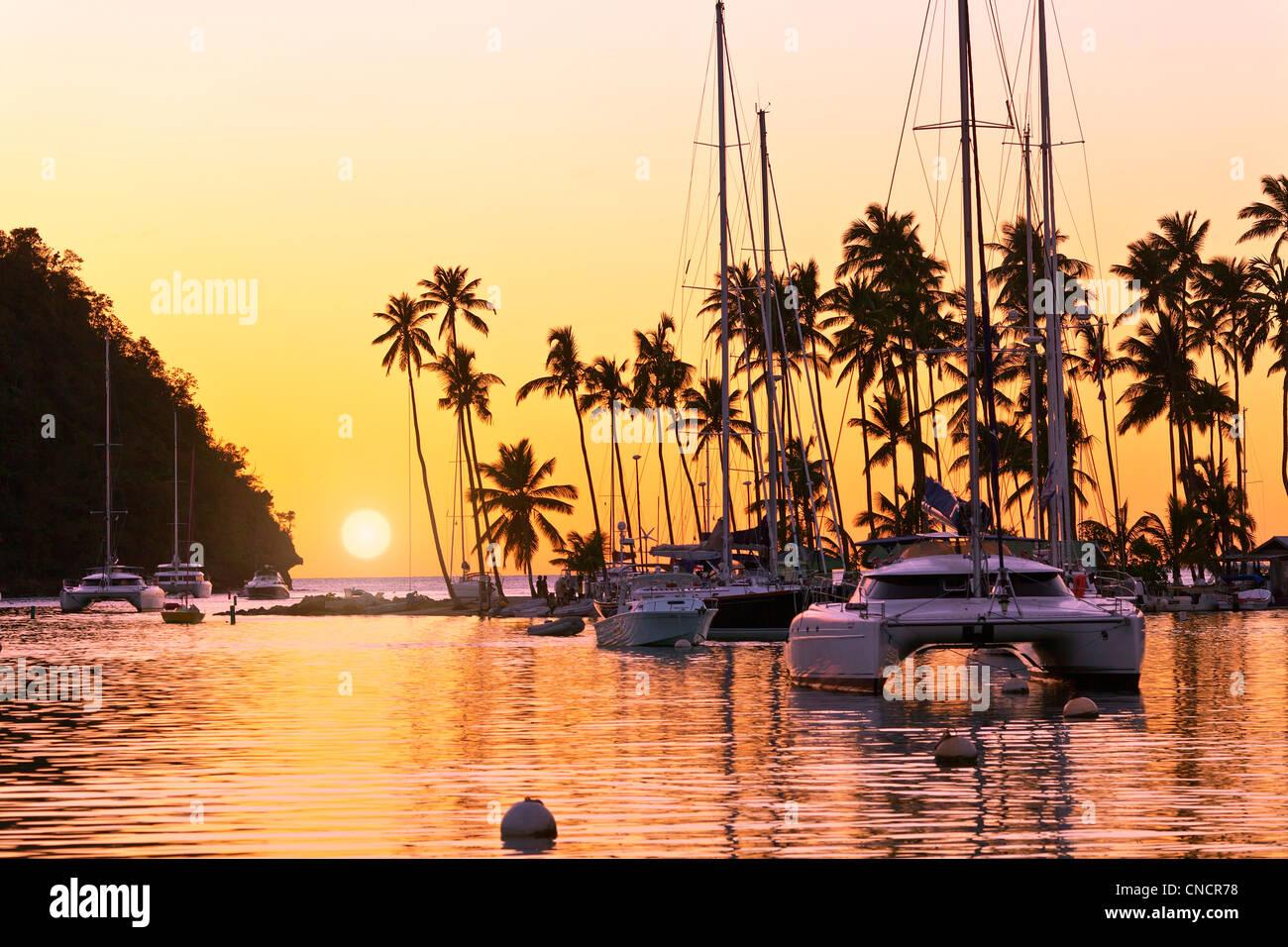 St. Lucia, Marigot Bay at Sunset - Stock Image