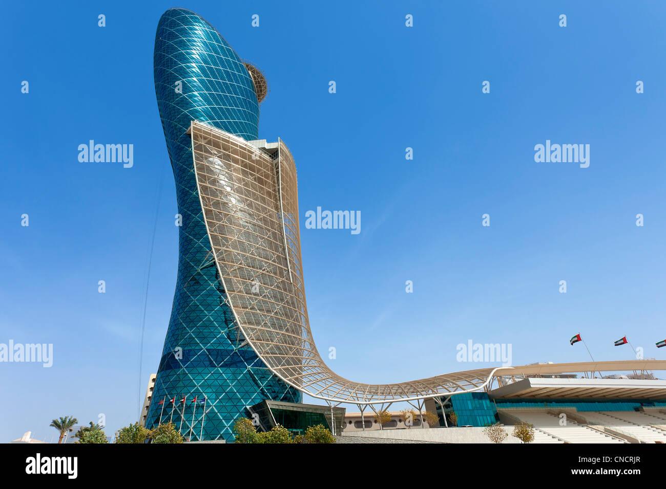 Abu Dhabi , Hyatt Capital gate Hotel - Stock Image