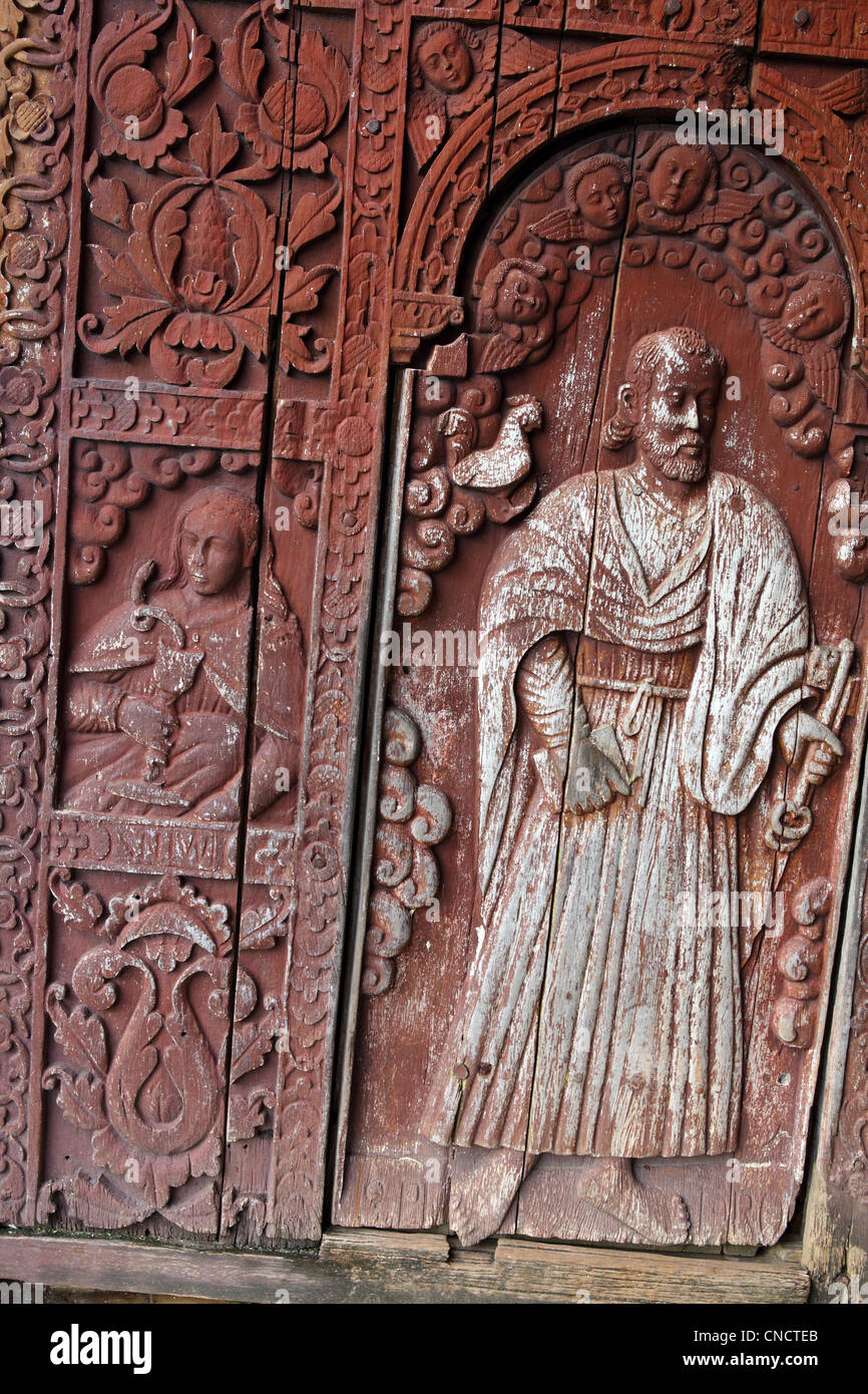 Four hundred year old wooden doors of the Immaculate Conception Church. Guiuan, Samar, Eastern Visayas, Philippines Stock Photo