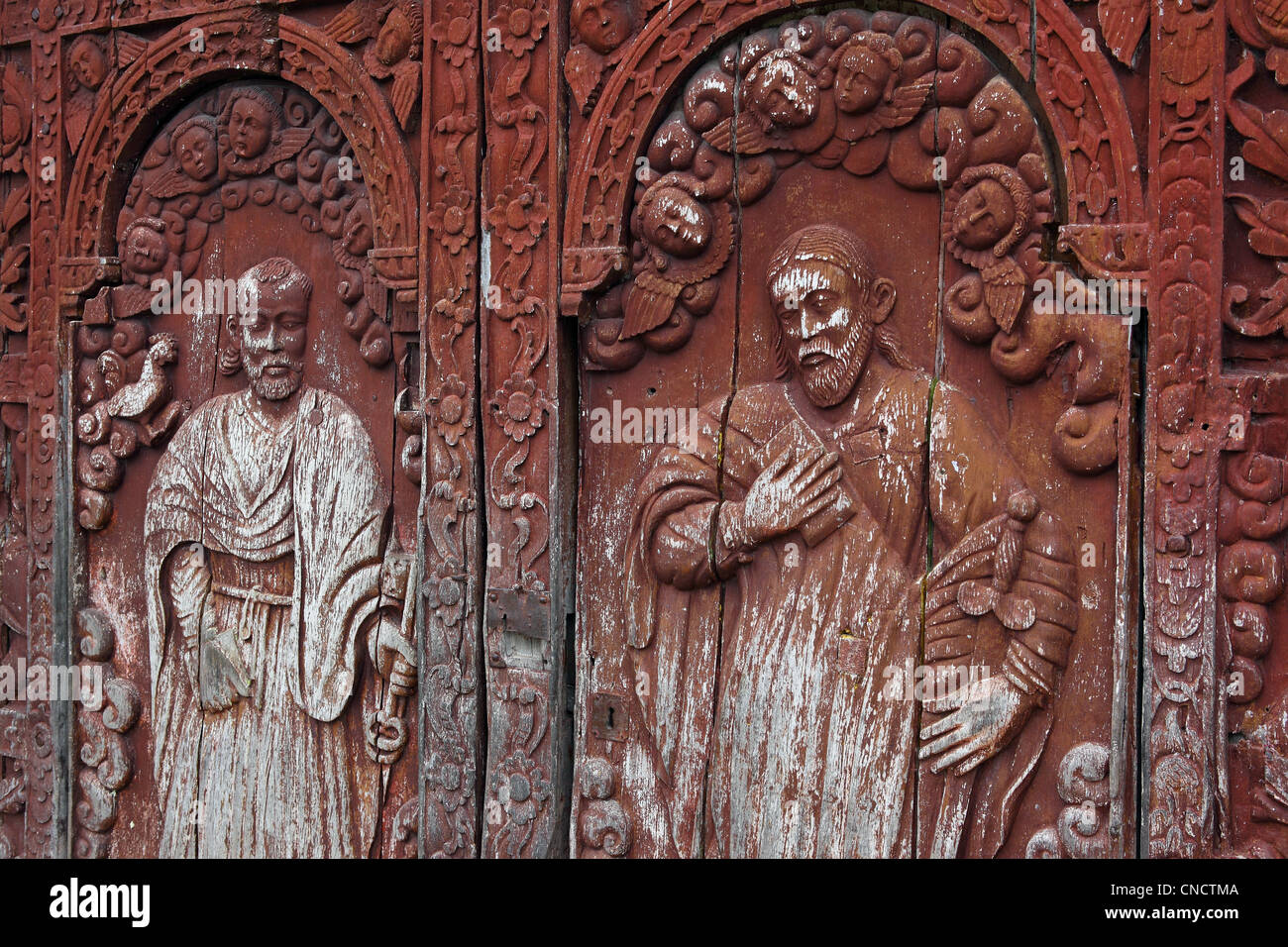 Four hundred year old wooden doors of the Immaculate Conception Church.  Guiuan, Samar, - Wooden Church Doors Stock Photos & Wooden Church Doors Stock Images