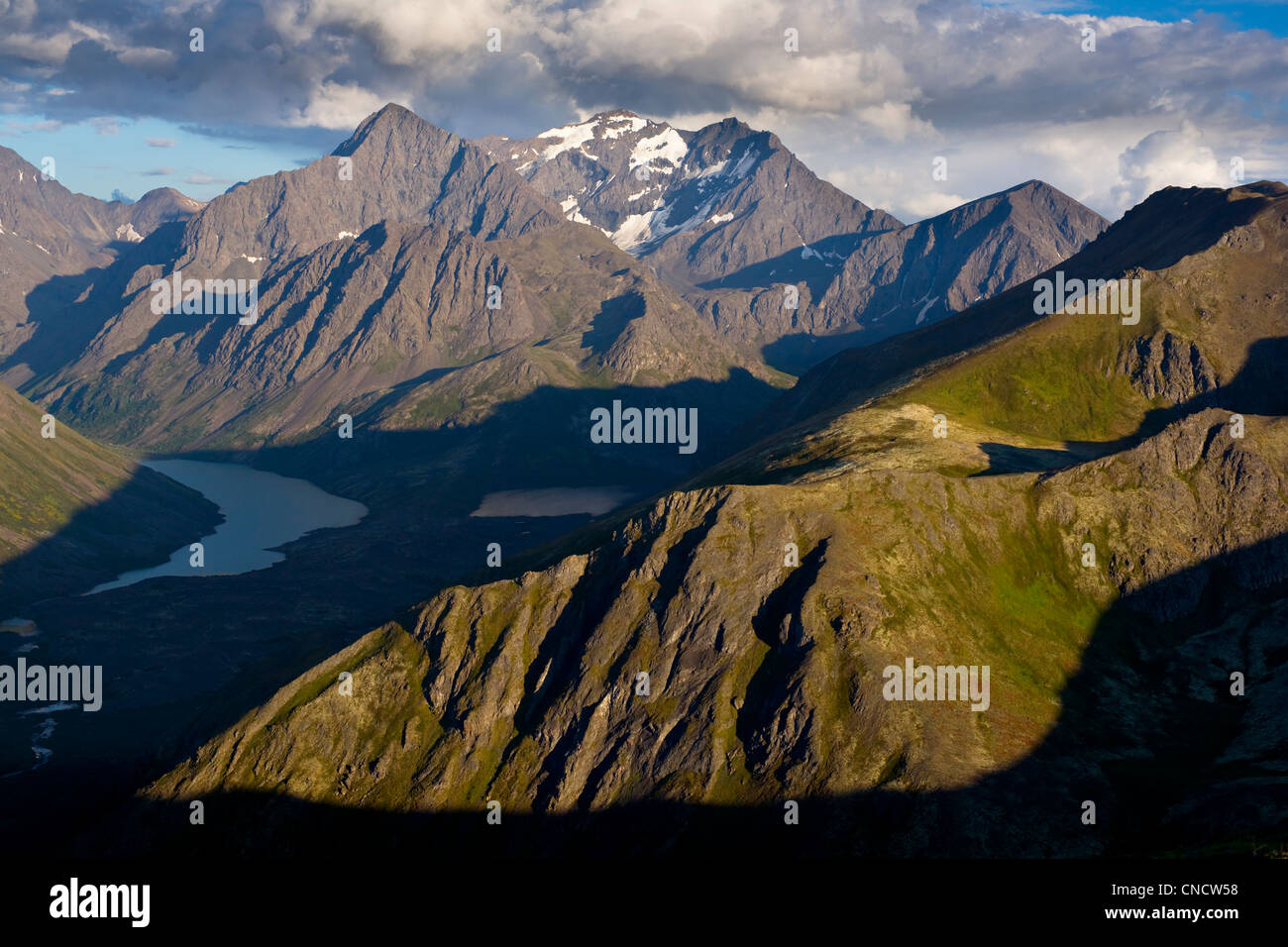 Scenic view of Eagle and Symphony Lakes, South Fork of Eagle River Peaks, Chugach State Park, Southcentral Alaska, - Stock Image