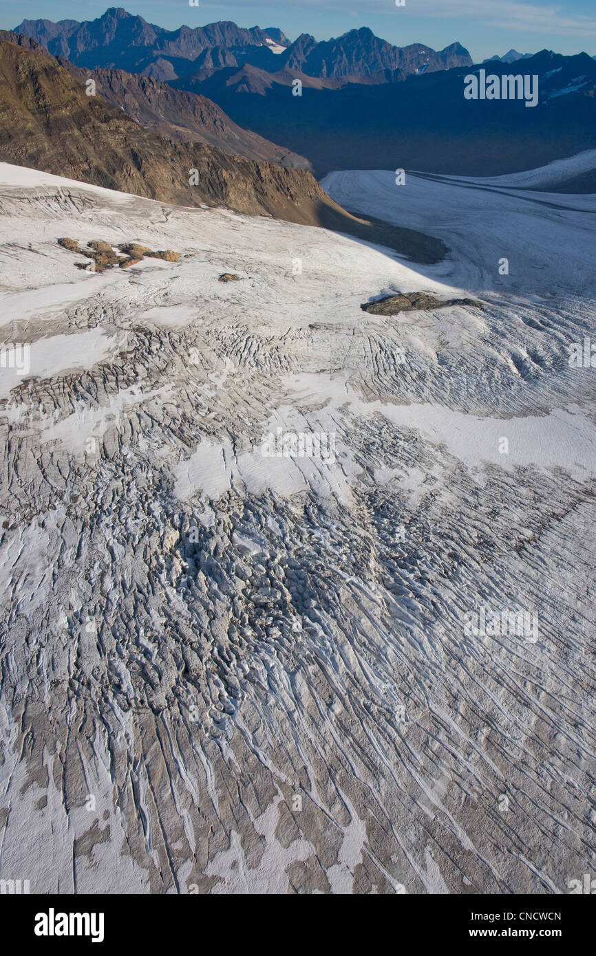 Aerial view of Eagle Glacier descending into Eagle River Valley, Chugach State Park, Southcentral Alaska, Autumn - Stock Image