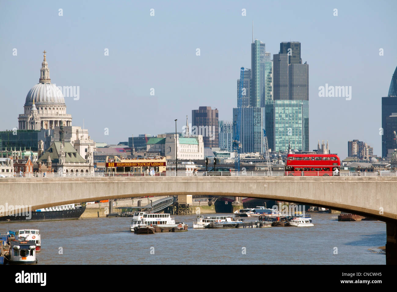 Banks in the City of London and Waterloo Bridge - Stock Image