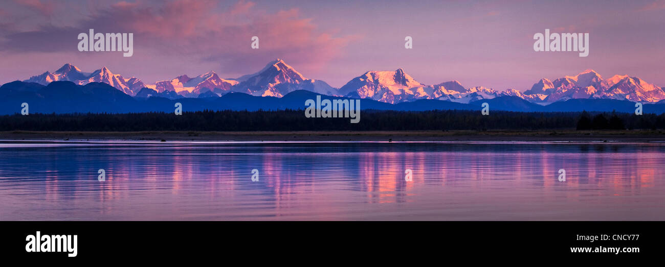 Fairweather mountains reflecting on the waters of Icy Strait at dawn, Glacier Bay National Park & Preserve, - Stock Image