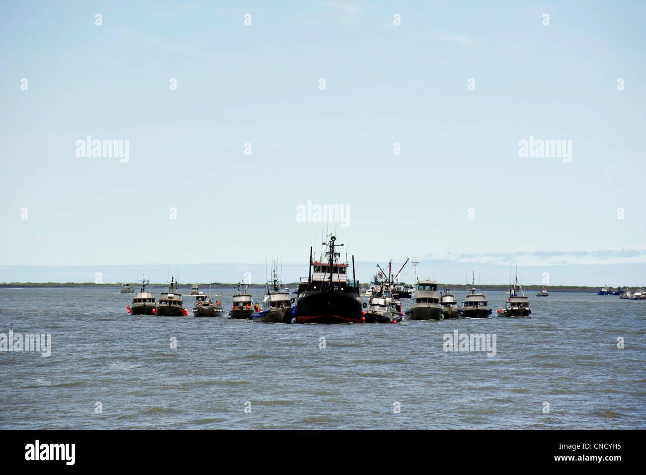 Drift net boats line up at a tender to deliver sockeye salmon in Ugashik Bay in Bristol Bay, Alaska - Stock Image