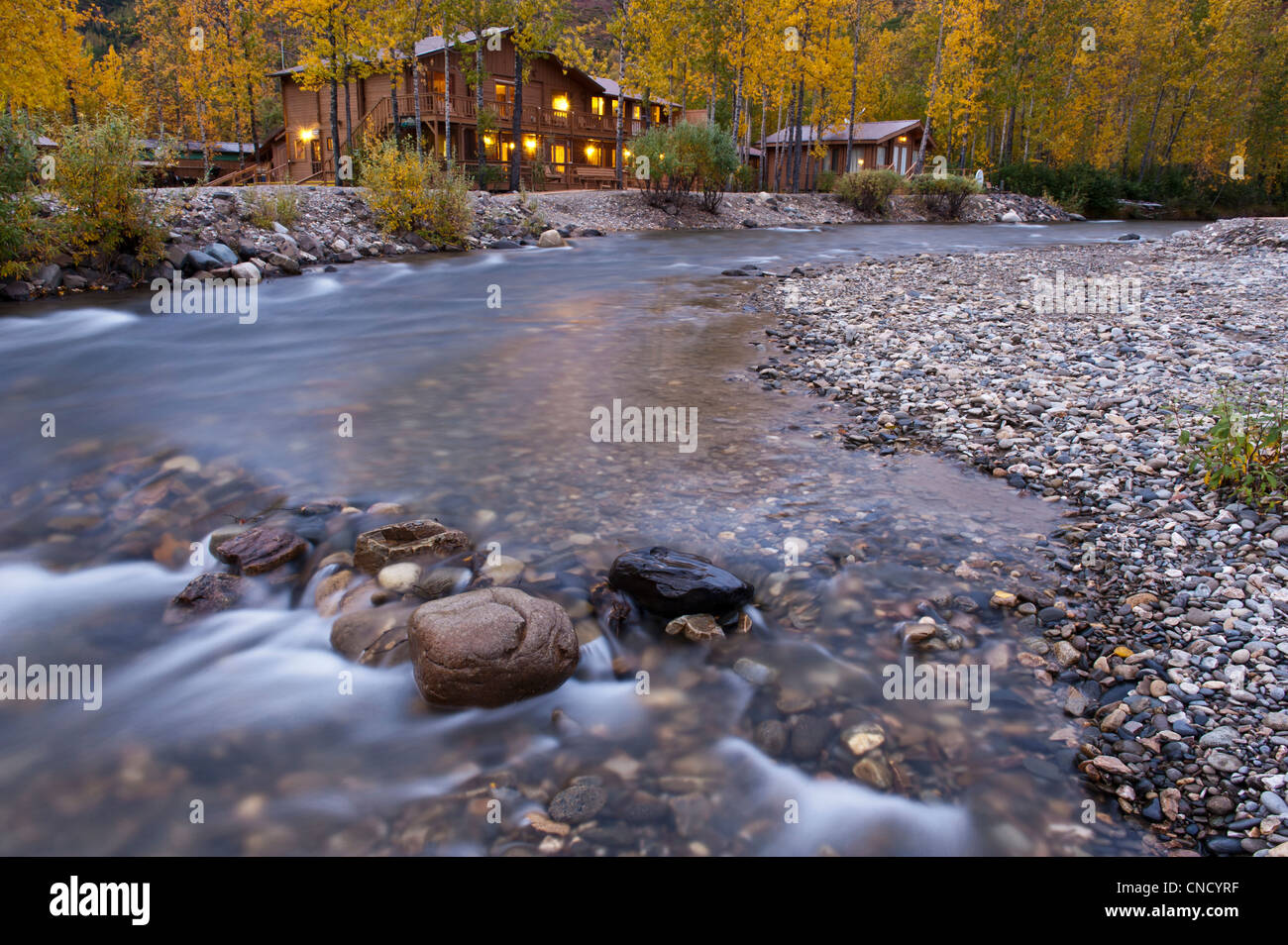 The Denali Backcountry Lodge sits beside a creek in Kantishna within Denali National Park & Preserve, Interior - Stock Image