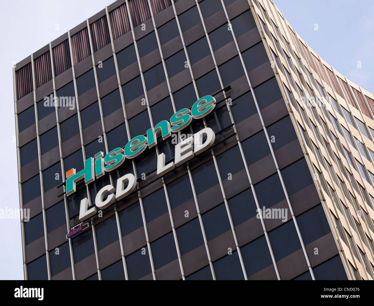 Hisense sign on a building in Brussels, Belgium. Hisense is a multinational electronics manufacturer based in China. - Stock Image