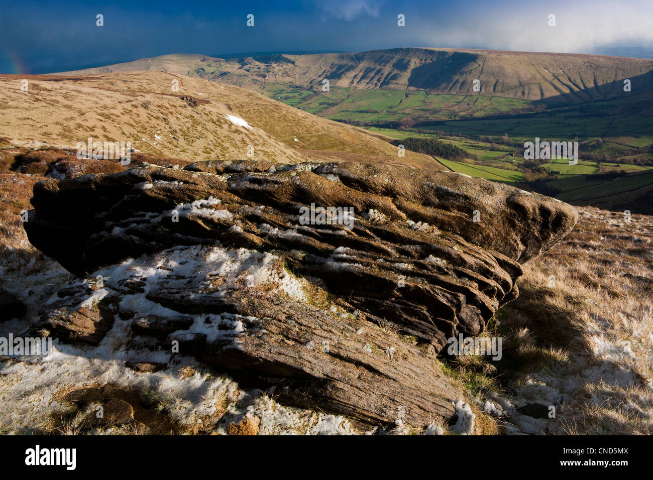 A view from the Kinder Plateau, Kinder Scout, Peak District, Derbyshire, England, UK - Stock Image