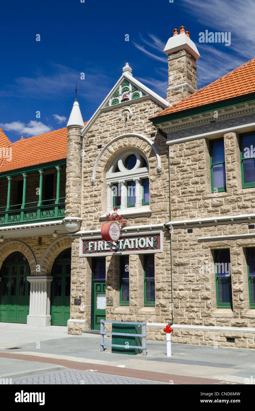 Fire Brigade No.1 Station opened in 1901, built from limestone with Romanesque Revival influences, Perth, Western - Stock Image
