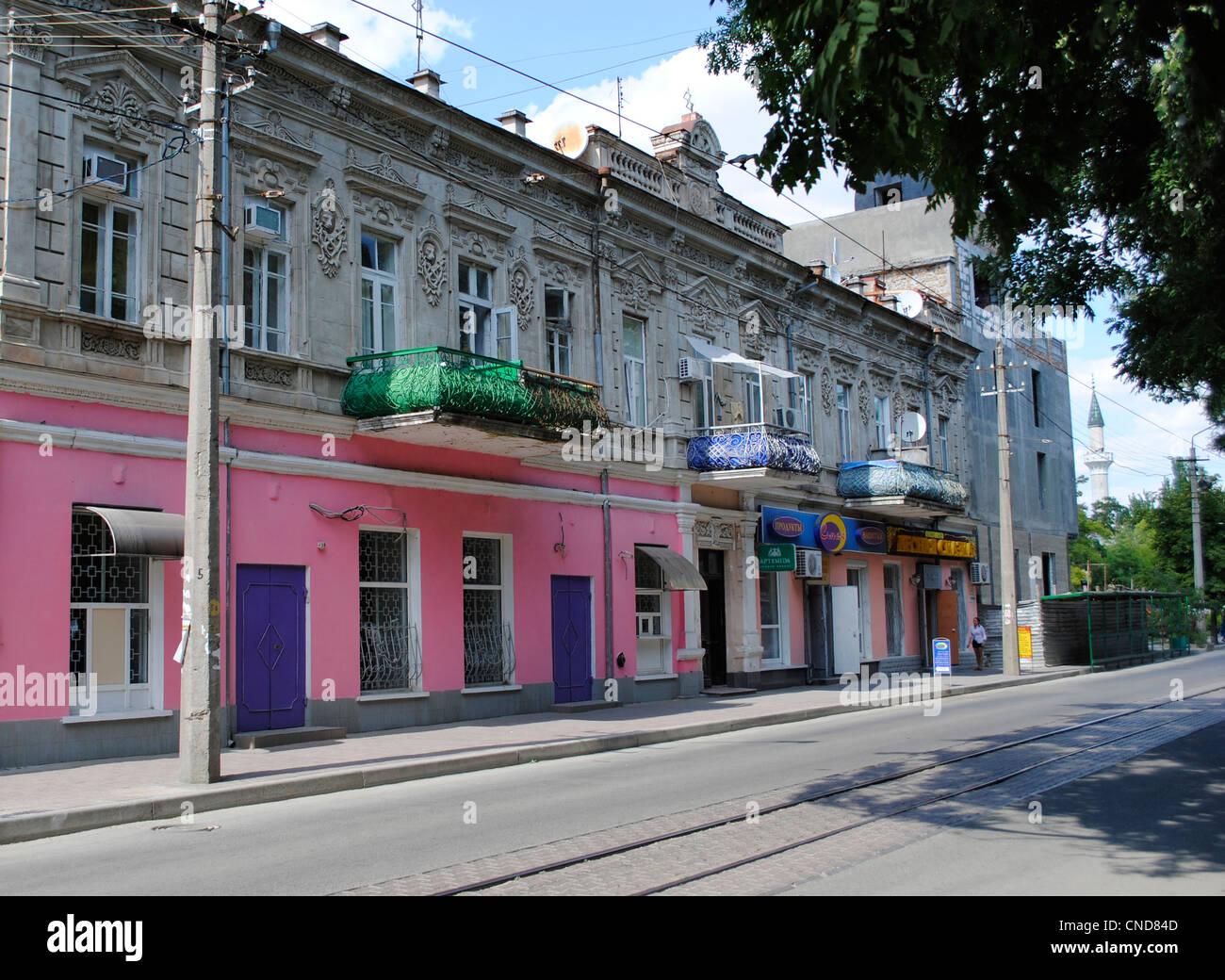 Ukraine. Autonomous Republic of Crimea. Yevpatoria. Revolution Street. Stock Photo