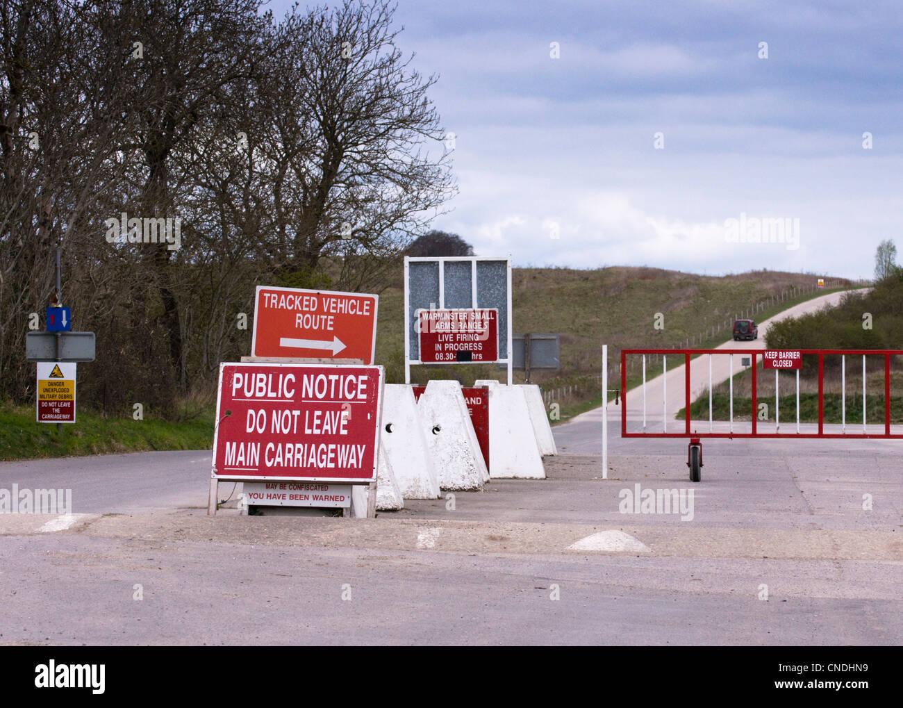British Army Training Ground on Salisbury Plain, near the deserted village of Imber - Stock Image