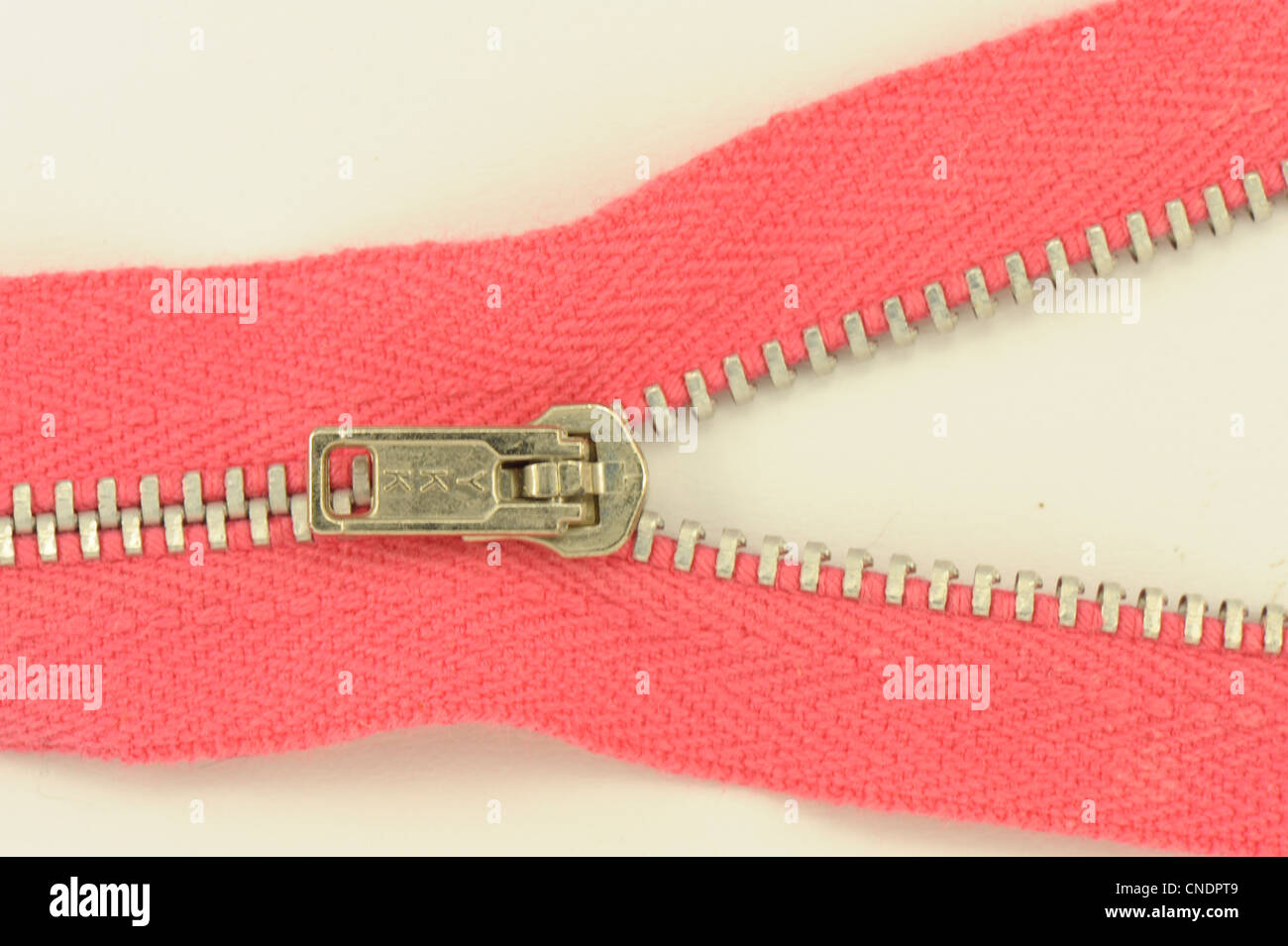 zip zipper red showing toggle taken on a white background sewing dressmaking - Stock Image